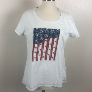 Flag embellished graphic  tee.